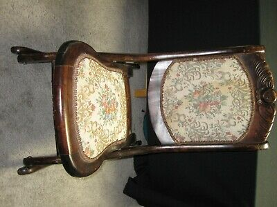 Antique Folding Rocking Chair Vintage Wooden Padded Tapestry Seat ~ 6124