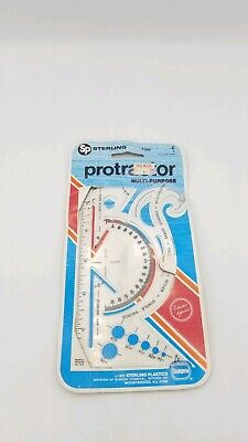 Vintage Sterling 544 Protractor French Curve Triangle Ruler Circle Gauge Plastic