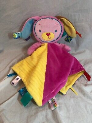 Taggies Patchkin BUNNY RABBIT baby Security blanket satin  pink yellow blue