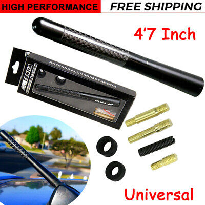 "Black Universal 4.7/"" Carbon Fiber Sports Car Antenna Adjustable TRD Logo Emblem"