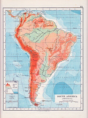 1912 Map ~ South America ~ Physical Showing Depths & Heights