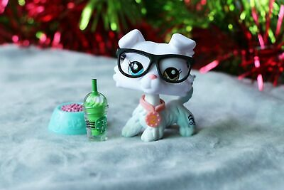 Littlest pet shop Custom Made OOAK LPS New White Collie Different Eyes Only One