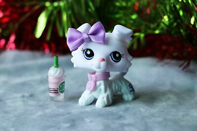 Littlest pet shop Custom Made OOAK LPS New White Collie Purple Eyes Very Rare