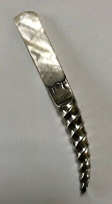 Antique Victorian Sterling Silver & Mother Of Pearl Horn Handle Letter Opener