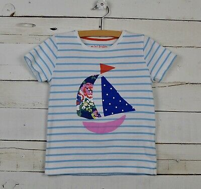 Girls MINI BODEN Sz 6 7y Striped Sailboat Graphic Shirt Top Blue White