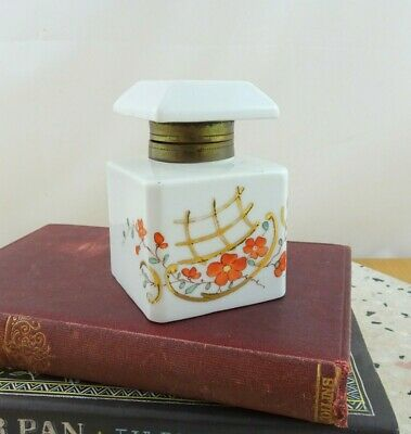 Vintage Hand Painted Porcelain Inkwell with Hinged Lid