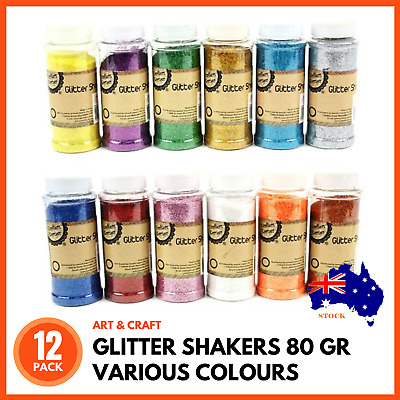 12 x GLITTER SHAKERS 80gm | Assorted Colours Craft Scrapbooking Cards Nail Art