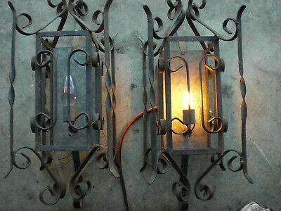 Pair Vintage Gothic  Wrought Iron Wall Light  Fixture