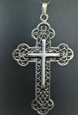 Collectible Filigree Crucifix Cross Solid Silver Pendant