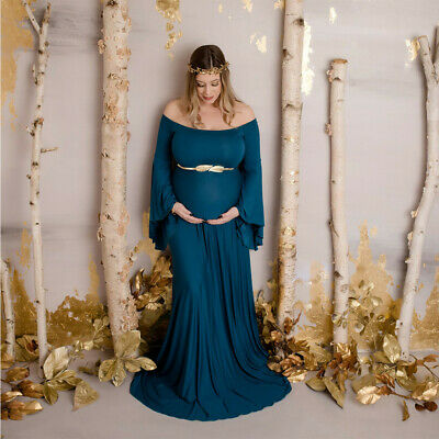 Women Pregnants Sexy Photography Props Off Shoulders Maternity Party Long Dress