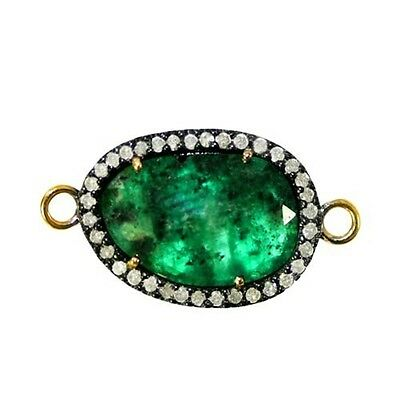 Emerald Bracelet Connector Gold Diamond Pave 925 Silver Gemstone Finding Jewelry