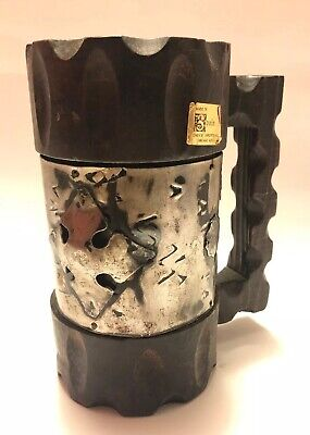 "1960s Enesco 7"" High Wood Can / Bottle Holder w/ Metal Band & Emblem - Spain MCM"