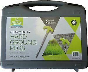 Via Mondo 20 Meteor Hard Ground Pegs for Tent & Awning - Free Case