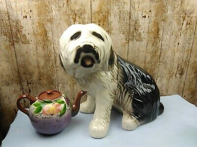 Majestic 40 Year Old Rare Huge 35cm High Old English Sheepdog Floor  Ornament