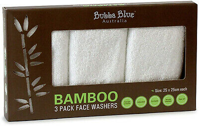 Bubba Blue Bamboo Towelling Face Washers Trio Pack, White