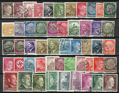 GERMANY 1933-1945 3rd REICH STAMP COLLECTION PACKET 50 DIFFERENT + Territories