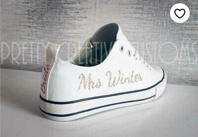 Option 1 Personalised iron On transfers  converse trainers wedding bridal shoes