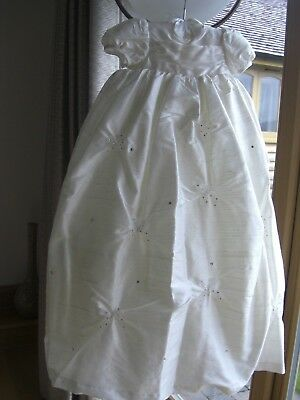 Little Darlings Cream 100% Silk Christening Gown &  H/band ~ Size 0-3 Months