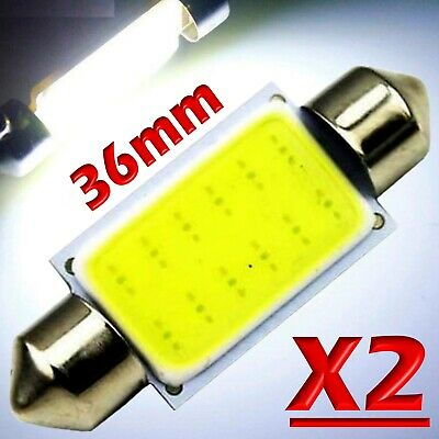 2 LAMPADINA LED SILURO AUTO COB C5W 36 mm 12 LED SMD BIANCO INTERNO TARGA 12V