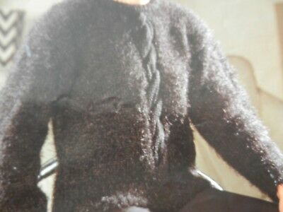 """Knitting Pattern Womens Ladies Cable Jumper 30-42"""" Chunky Vintage"""