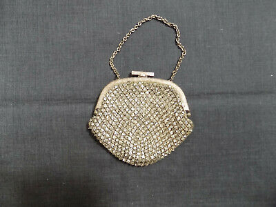 Antique Woman Purse With Glass Stones and Silver Plated