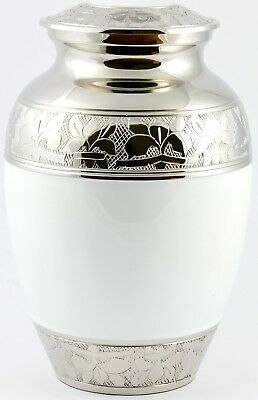 """Cremation Urn for Ashes Medium 8"""" child Funeral Memorial White Urn Ash Container"""