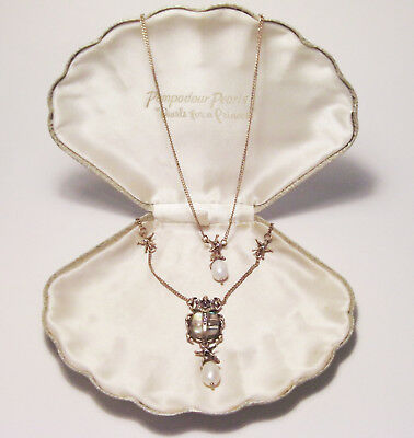 Stunning Art Deco Style Egyptian Revival Rhinestone Pearl Beetle Necklace