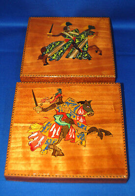 A pair of unusual antique hand painted wooden knight wall plaques, Harry Hotspur