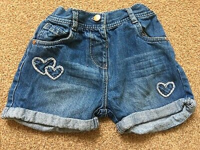 Girls George Blue Denim Shorts 18-24 Months Embroidered Hearts Summer Beach B69