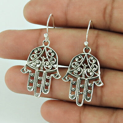 Hamsa Earring 925 Sterling Silver Hand Crafted Antique Jewellery Women