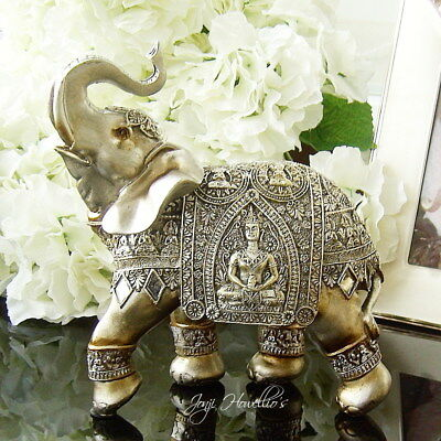 BUDDHA ELEPHANT Gold Silver Ornament Figurine Statue Jumbo Lucky Trunk Up Gift