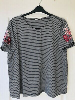 0061 Tu Plus Sz 20 Black&White Striped Floral Embroidered Sleeves Top