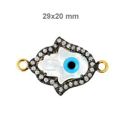 MOP Gemstone HAMSA HAND Pave Diamond Sterling Silver 14 K Gold Connector Finding