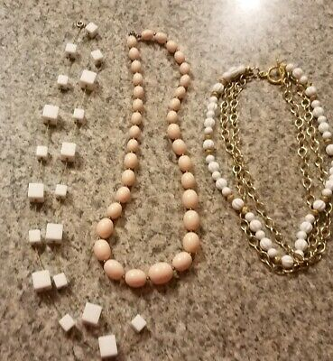 Lot of 3 Vintage Beaded Necklaces~White Cube, Soft Pink, White/Gold!