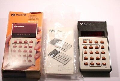 VINTAGE  ROCKWELL 18R CALCULATOR WITH BOX & MANUAL Made In Hong Kong 1970's