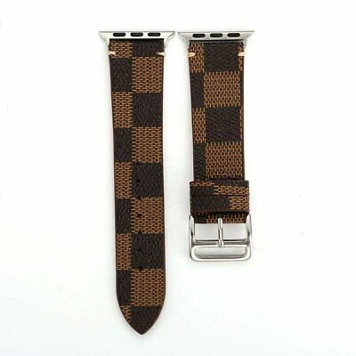 Apple Watch  Band LV Louis Vuitton Plaid 42/44mm Leather Strap