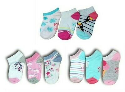 Girls Toddler Children Kids Cotton Summer Ankle Trainer Socks Multi Buy 3 Pairs