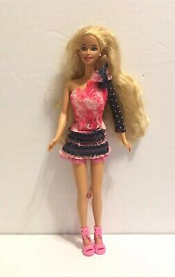 Vintage 1998 Mattel Grow Hair Barbie Blonde Doll With pull string rocker Dress
