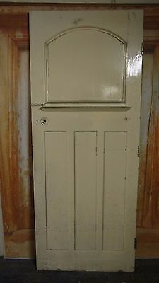AT11 (31 3/4 x 79) 1930's / Edwardian Old Arched Topped Solid Pine Door