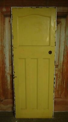 AT04a (28 x 74 3/4) 1930s / edwardian old arched topped solid pine door