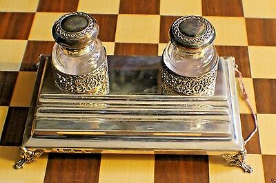 European Ink Well & Stand Sterling Silver Tray Base & 2 Silver Top Cyrstal Glass