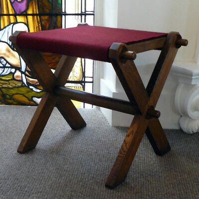 An Attractive Church Cross Framed and Pegged Oak Stool / Small Table