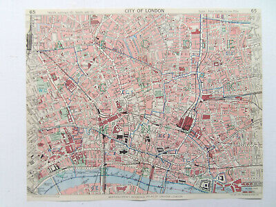 London City Shoreditch Holborn Whitechapel Finsburyvintage 1954 Bartholomews Map