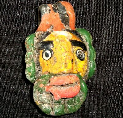 Rare Ancient Phoenician Bearded Face Glass Bead Mosaic Pendant Stunning 802