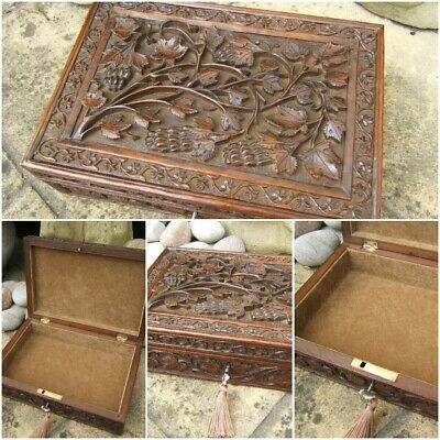 Terrific Rare 19C Anglo Indian Hand Carved Antique Jewellery Box - Fab Interior