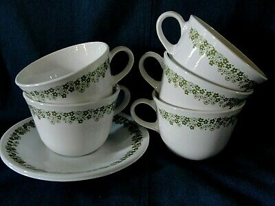 Pyrex Corning Corelle Spring Blossom 5 Cups & 2 saucers Crazy Daisy