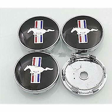 Set Of 4 Black Ford Mustang Logo Centre Caps 60Mm Wheel Centre Hub High Quality