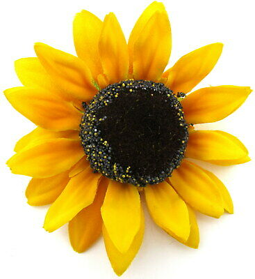 """Large 5"""" Yellow Sunflower Silk Flower Brooch Pin with Locking Bale"""