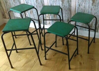 5 x Vintage Retro Industrial Stacking Science Lab School Cafe Bar Kitchen Stools