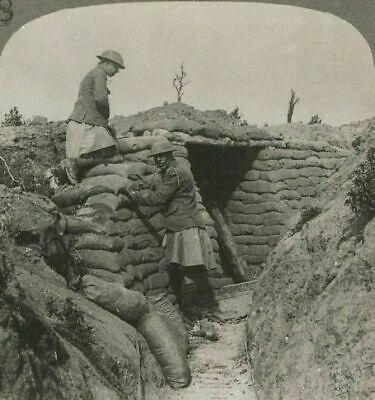 WW1. Highland Tommies Replacing Sandbags in Front Line Comms. Trench. Stereoview